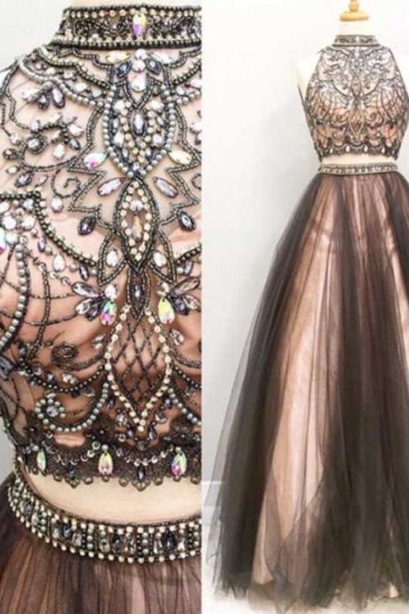 Two pieces A-line Sleeveless prom dresses,Chic Beading Tulle prom dress,Floor Length prom dress.TP747