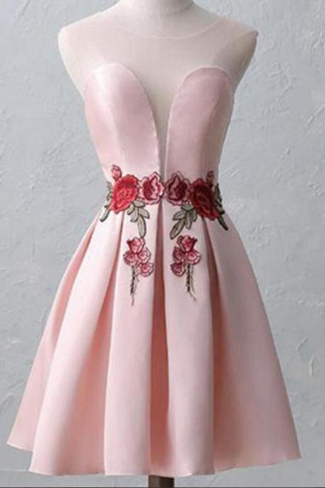 Cute Pink Short Satin Homecoming Dresses,Chic Appliques Sleeveless Homecoming Dresses.MN763