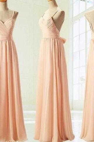 Champagne spaghetti straps bridesmaid dresses, off shoulder bridesmaid dresses,simple chiffon bridesmaid dresses.WB762