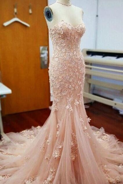 Blush Pink Strapless Lace Mermaid Evening Prom Dresses,Charming Appliques Evening Dresses.ST766