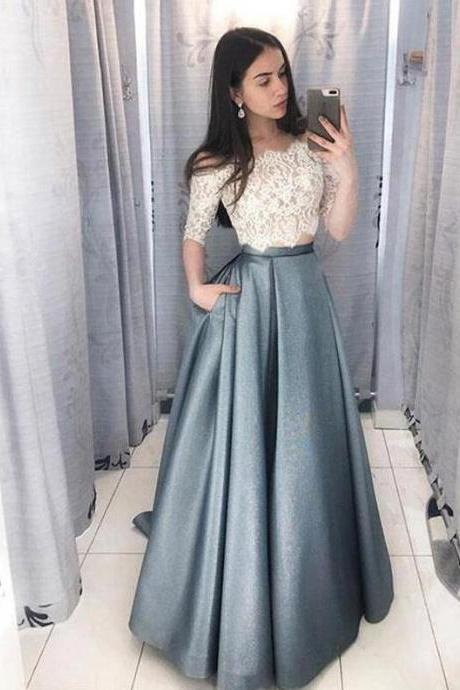 Gray Satin Two Pieces Prom Dresses,Half Sleeve Lace Evening Dresses,Elegant Off-The-Shoulder Lace Prom Dresses.TP779