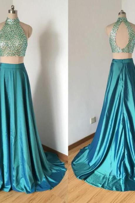 Sparkly Two Pieces Halter Prom Dresses,Charming Side Slit For Teens Formal Affordable Prom Dress.TP789