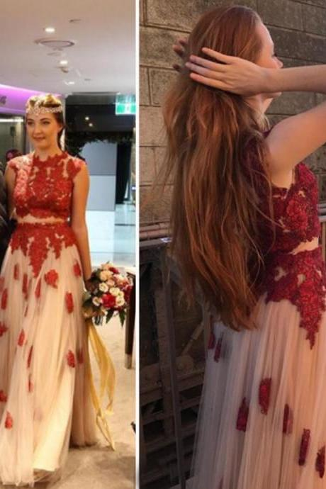 Two pieces formal prom dress,Red lace applique formal party dress,Elegant tulle formal evening dress.F790