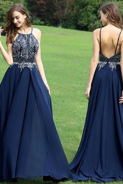 Sexy Open Back Formal Gown,Navy Blue Halter Prom Dress,Chiffon With Beaded Bodice Prom Dresses.P803