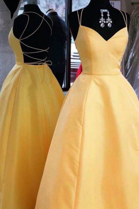 Spaghetti Straps A-line Homecoming Dresses,Yellow Floor Length Satin Homecoming Dresses,Charming Open Back Evening Dresses.PH807