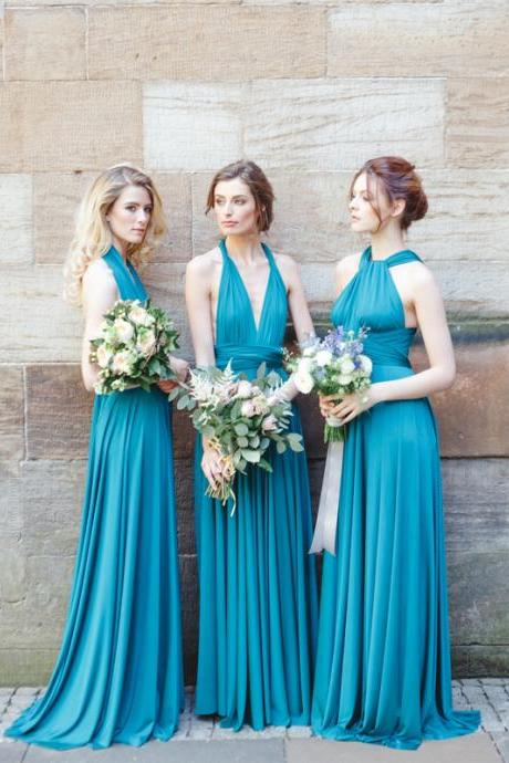 Charming Sleeveless bridesmaid dresses,Floor Length Pleated bridesmaid dresses, Blue Halter bridesmaid dresses.WB819