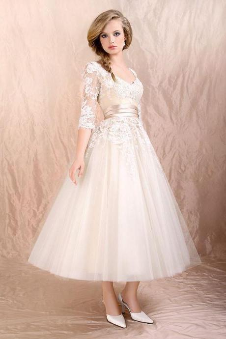 Mid-Length Prom Dresses,Lace Appliques 3/4 Sleeve Prom Dresses,Elegant Tulle Homecoming Dresses.MN844