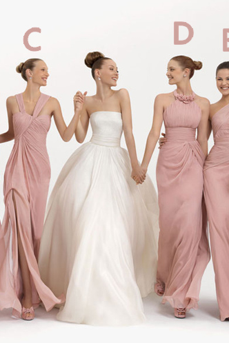 Pink Chiffon Bridesmaid Dresses,Charming A-Line Floor Length Bridesmaid Dresses,Sleeveless Bridesmaid Dresses.WB866
