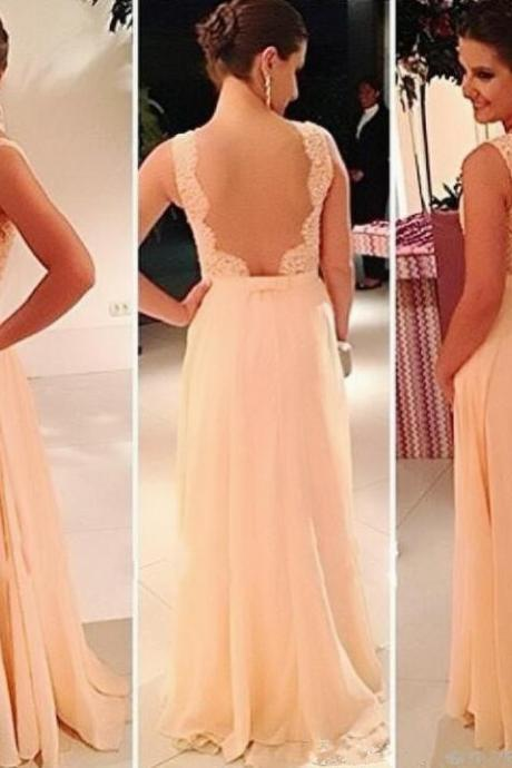 blush pink backless prom dresses,A-line floor length prom dress,chiffon formal evening dress.P881