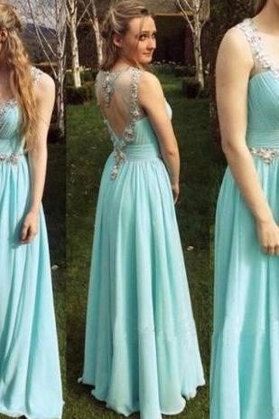 Tiffany blue chiffon homecoming dresses, beading v-neck backless evening dresses,sleeveless homecoming dresses.PH883