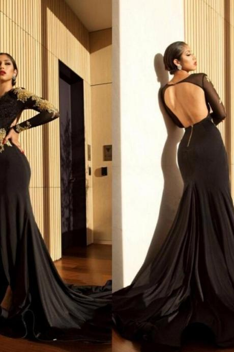 Stunning Black Gold Long Sleeve Prom Dresses,Sexy High Side Slit Evening Gowns,Charming Deep V-neck Backless Formal Dresses.LS890