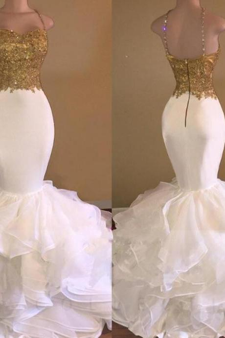Elegant Mermaid Prom Dresses,Sleeveless V-Neck Gold Lace Appliques Prom Dresses,Brush Train Evening Gowns.P893