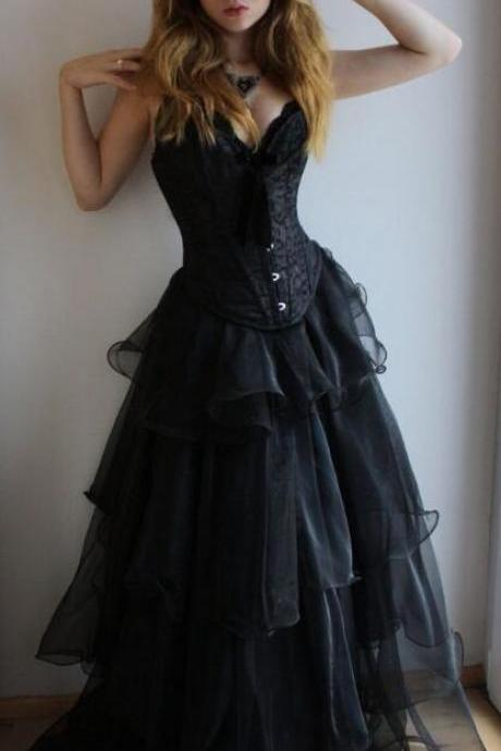 Black A-line Prom Dresses,Sweetheart Lace Up Prom Gowns,Chic Layered Tulle Prom Dresses.P903