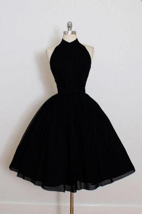 Nice Black Short Formal Prom Dresses,Simple Sleeveless Pleated Mini Homecoming Dresses,Charming Backless Evening Dresses.MN946
