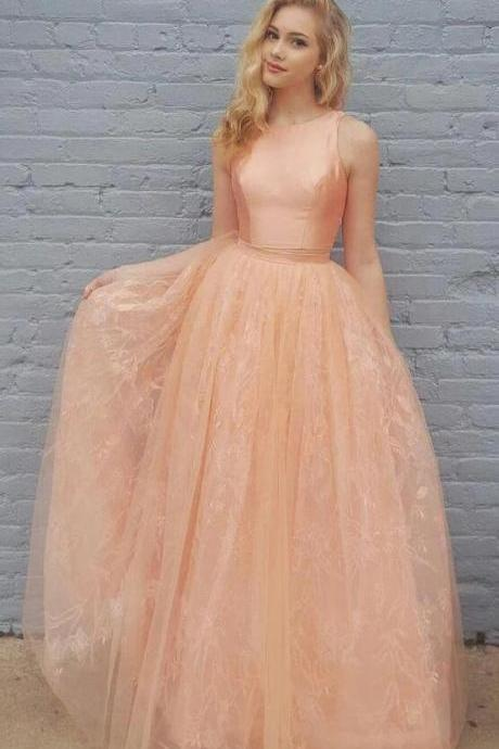 Princess A-Line Two Piece Homecoming Dresses,Orange Floor Length Lace Prom Dress,Sleeveless Satin Evening Dresses.TP954