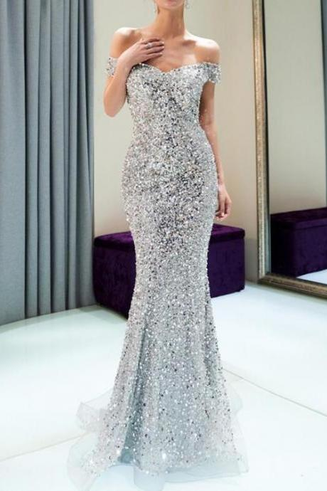 Sparkly Off-Shoulder Prom Dresses,Mermaid Silver Beaded Evening Dresses,Backless Sequin Prom Dresses.P956