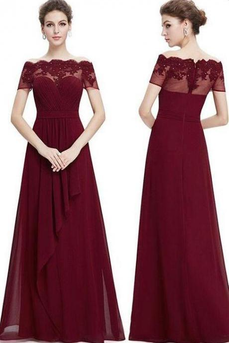 Chiffon Burgundy Long Bridesmaid Dresses,Lace Appliques Wedding Party Dresses,Charming Off The Shoulder Bridesmaid Dresses.WB958
