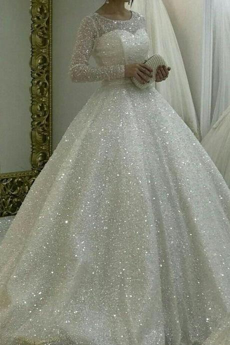 Sparkly White Wedding Dresses,Modest Round Collar Bridal Gown Prom Dresses,Long Sleeve Bridal Dresses.W962
