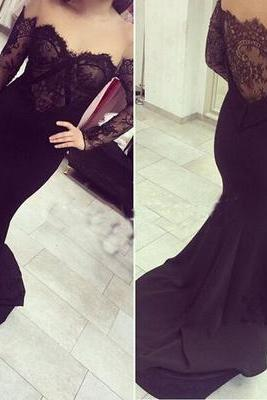 Sexy off-shoulder prom dresses,black lace prom dresses,mermaid prom dresses,long sleeve prom dresses.LS976
