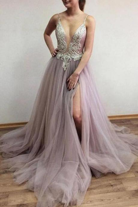 Sexy Spaghetti Straps Tulle Slit Long Prom Dresses,Beading Custom-made School Dance Dress,Fashion Graduation Party Dress.P981