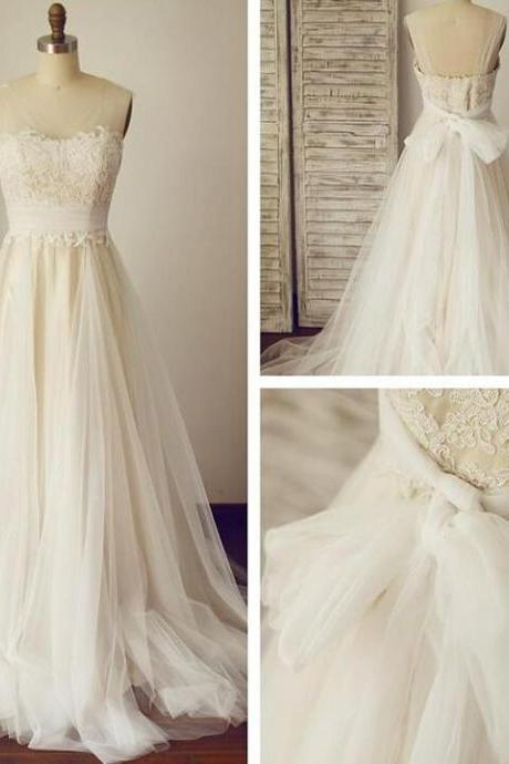 Lace wedding dresses,A-line princess bridal gown,open back wedding dresses,simple sleeveless bridal gown.W990