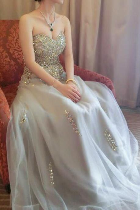 Sweetheart Beaded Light Grey Tulle Prom Dresses,Strapless Off Shoulder Evening Dresses,Elegant Floor Length Formal Dresses.ST993