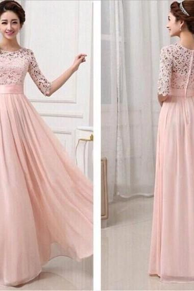 A-line long bridesmaid dress, lace bridesmaid dress, cheap prom dress, blush pink prom dress,half sleeve prom dress.WB1020