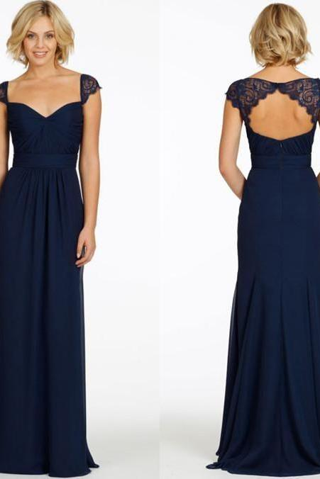 long prom dresses,navy blue prom dresses, cap sleeve prom dress, cheap evening dress, bridesmaid party dress.P1024