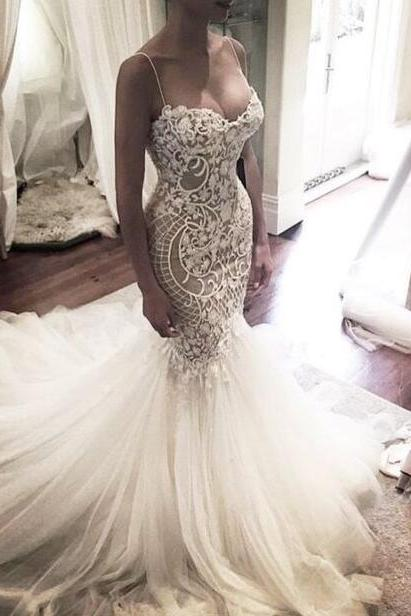 Princess Wedding Dresses,Mermaid Sweep Train Wedding Dresses,Spaghetti Straps Bridal Dresses.W1061