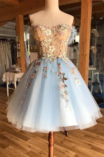 Light Blue Off the Shoulder Homecoming Dress,Chic A-line Appliques Short Prom Homecoming Dress.MN1071