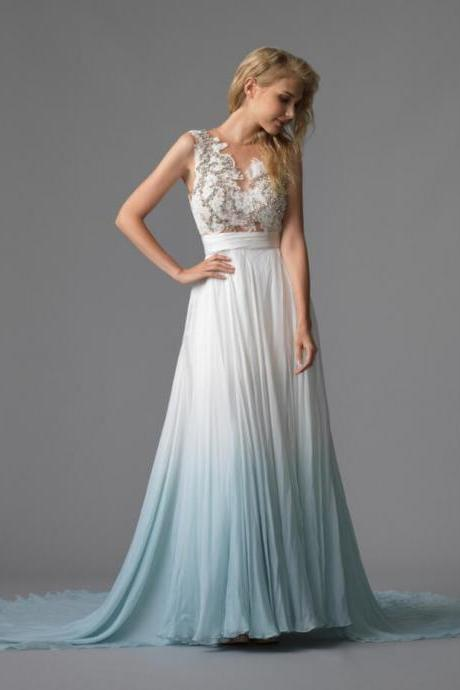 Princess A-Line Sleeveless Prom Gown,Chic Appliques Beading Prom Dress,Chic Court Train Prom Dress,Evening Dress.P1092