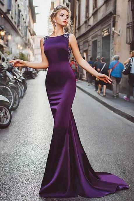 Satin Purple Mermaid Prom Dresses,Sleeveless Beading Long Formal Evening Dress.F1093