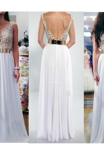 White Appliques V-neck Prom Dress,Charming A-line Backless Chiffon Evening Dress,Sleeveless Floor Length Formal Prom Dress.P868