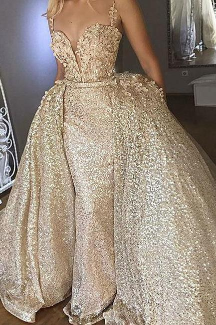 Sexy A-Line Sweetheart Prom Dresses,Gold Sequined Long Prom Dresses,Evening Dresses.P1106