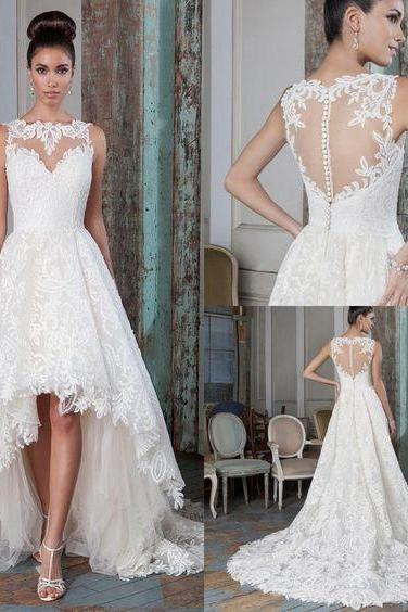 Special High Low Tulle Bridal Dresses,Romantic Brush Train Wedding Dresses,Beautiful Sleeveless Appliques Bridal Gown.W1119
