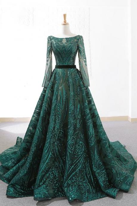 Dark Green Sequins Long Sleeve Prom Dresses, A-line Evening Dress With Long Train.LS1120