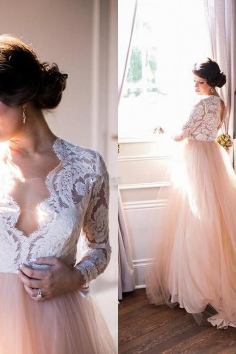 Pink Plus Size Summer Beach Wedding Dresses,Long Sleeve Lace V-Neck Tulle Modest Country Bridal Wedding Dresses.W1132