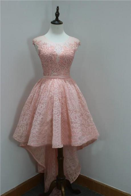 Pretty A-Line Round Neck Homecoming Dress,High Low Lace Short Pink Homecoming Dress.HL1133