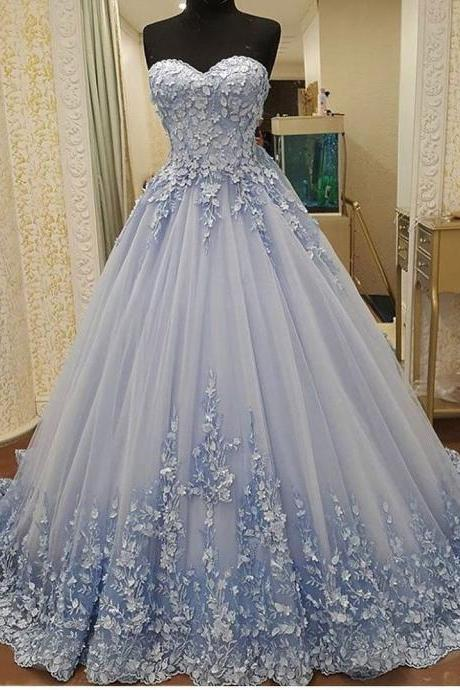 Pretty A-line Princess Prom Dress,Charming Sweetheart Strapless Evening Dress, Ball Gown With Applique.ST1134