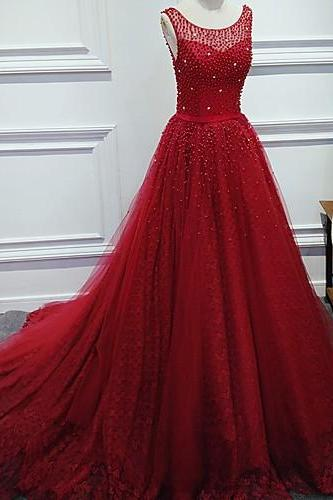 Luxurious A-Line Round Neck Prom Dresses,Charming Red Long Prom Dress with Pearl,Sleeveless Tulle Evening Dresses.R1137