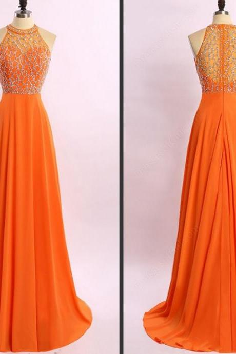 A-Line Princess Orange Chiffon Prom Dresses,High Neck Long Prom Dress,See Through Back Beaded Evening Dresses.P1138
