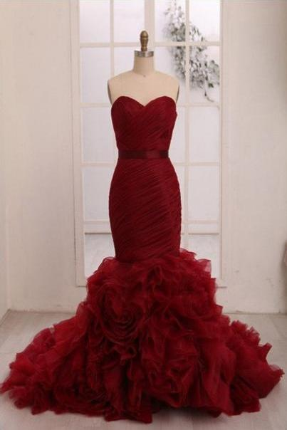 Red mermaid long formal lace up prom dresses,gorgeous evening dresses,sweetheart strapless evening dresses.R1139