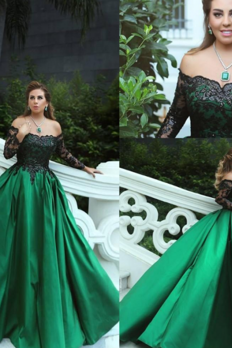 Sexy Off the Shoulder Lace Prom Dress,Elegant A-Line Long Satin Green Evening Dress with Long Sleeves.LS1144