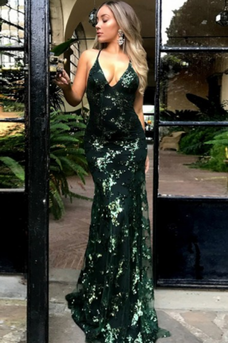 Sexy Mermaid Deep V-Neck Prom Dresses,Sweep Train Cross-Back Straps Dark Green Sequin Prom Dress,Evening Dress.P1145