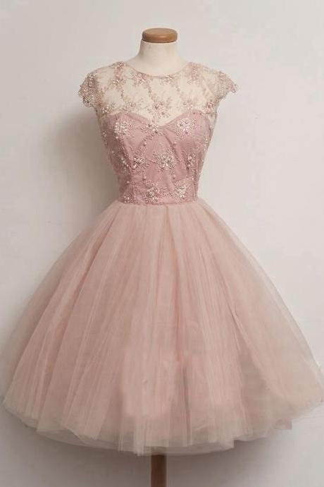 Short tulle homecoming dress,charming beaded homecoming dress,round-neck cap sleeves homecoming dress.PH1146