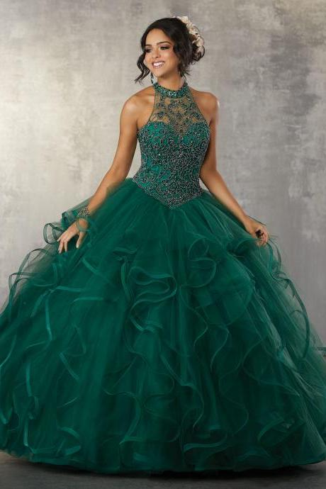 Green Ruffles Puffy Ball Gown,Beading High neck Prom Dress,Halter Sleeveless Prom Dresses,Party Gowns.P1149