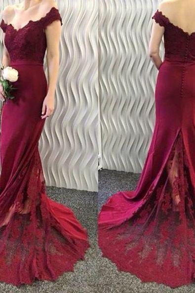 Burgundy Lace Mermaid Prom Dresses,Sexy Off the Shoulder Evening Dress,Red Long Party Gowns.R1154