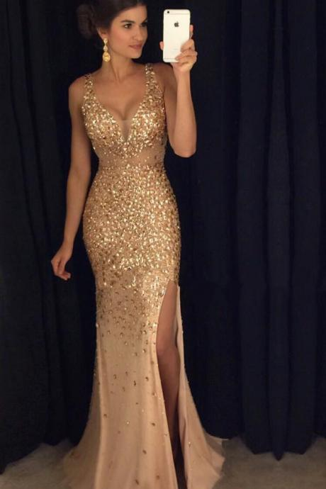 Beading Gold Long Prom Dress,Charming Sleeveless Evening Dress,Sexy Deep V-neck Prom Dresses.P1156