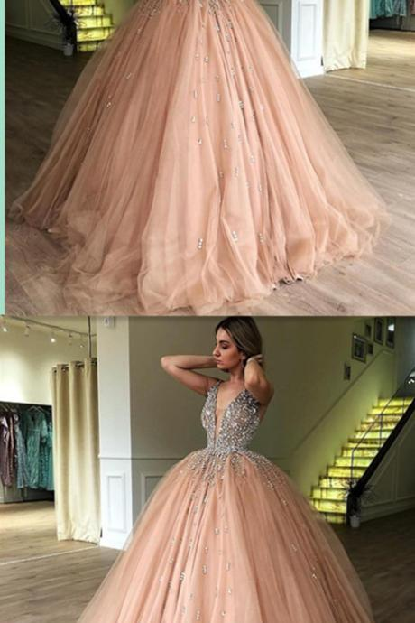 Ball Gown Sweet 16 Prom Dresses,V-Neck Evening Dresses,Beading Sleeveless Prom Dresses.P1157
