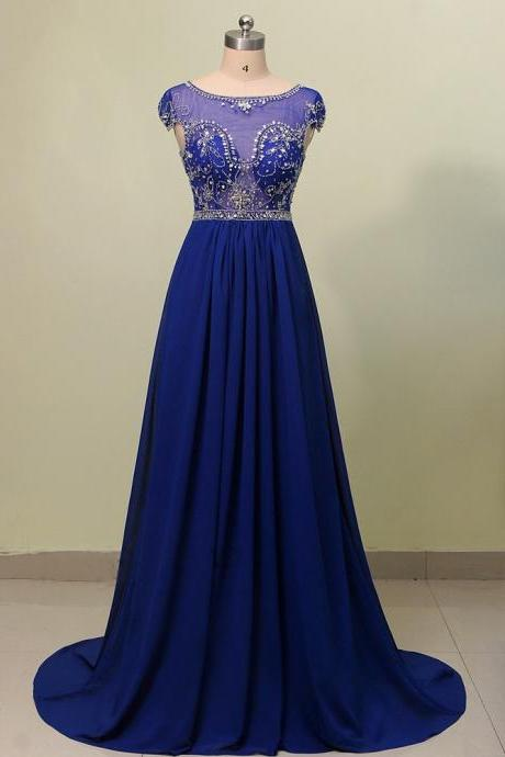 Charming Long Prom Dresses,A-line Sweep Train Evening Dresses,Elegant Beading Sleeveless Prom Dresses.P1158